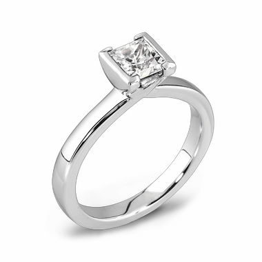 Princess Cut Tension Set Diamond Fairtrade Gold Engagement Ring in 18K White Gold