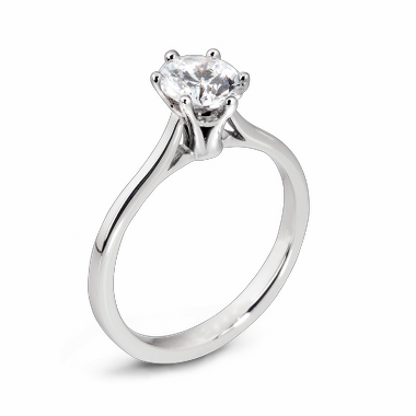 Fluted Diamond Solitaire Fairtrade Gold Engagement Ring in 18K White Gold
