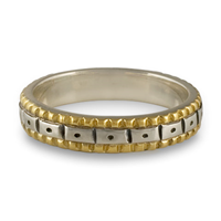 Solaris Wedding Band in 14K Yellow Borders/Sterling Center/Sterling Base