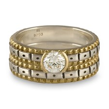 Solaris Bridal Ring Set in Sterling Silver Center & Base w 14K Yellow Gold Borders