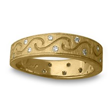 Anima Romantica Ring with Diamonds in 14K Yellow Gold