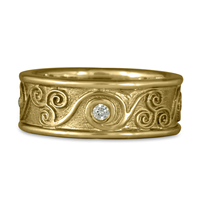 Bordered Triscali Ring with Diamonds in 14K Yellow Gold