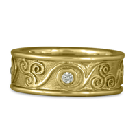 Bordered Triscali Ring with Diamonds in 18K Yellow Gold