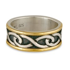 Twinning Infinity Wedding Ring in Sterling Silver Center & Base w 14K Yellow Gold Borders