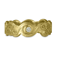 Triscali Ring with Diamonds in 18K Yellow Gold