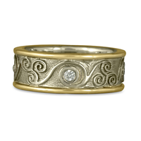 Bordered Triscali Ring with Diamonds in 18K Yellow Gold Borders w 14K White Gold Center & Base
