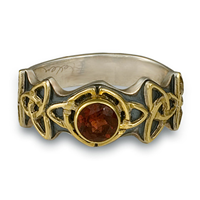 Trinity Ring with Gem in 14K Yellow Design/Sterling Base