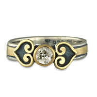 Corazon Engagement Ring in 14K Yellow Gold Design w Sterling Silver Base