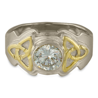 Aria Round Engagement Ring in 14K White Base with 18K Yellow Design