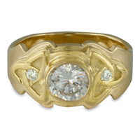 Aria Round Engagement Ring with Diamonds in 18K Yellow Gold