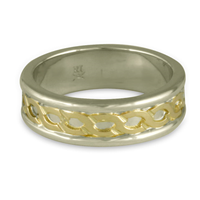 Bordered Rope Wedding Ring in 14K White Gold Borders & Base w 18K Yellow Gold Center