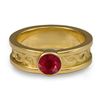 Bordered Rope Engagement Ring in Ruby