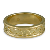 Bordered Rope Wedding Ring in 14K Yellow Gold