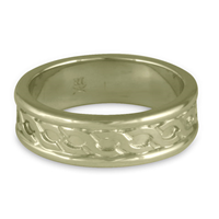 Bordered Rope Wedding Ring in 18K White Gold