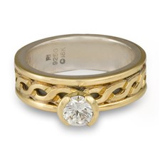 Bordered Rope Engagement Ring in 18K Yellow Borders/18K Yellow Gold Center/Sterling Base