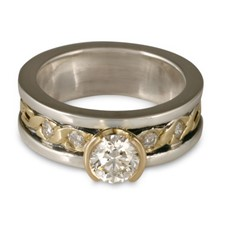 Bordered Rope Engagement Ring with Gems in Diamond