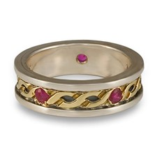 Bordered Rope Wedding Ring with Gems in 18K Yellow Gold Borders & Center w Sterling Silver Base