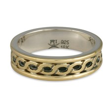 Bordered Rope Wedding Ring in 18K Yellow Gold Borders & Center w Sterling Silver Base