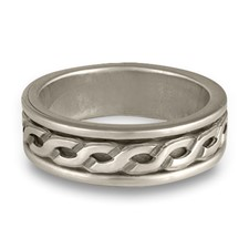 Bordered Rope Wedding Ring in Sterling Silver