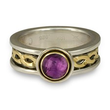 Bordered Rope Engagement Ring in Amethyst