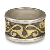Bridget Wedding Ring in Sterling Borders/18K Yellow Center/Sterling Base