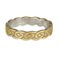 Borderless Petra Wedding Ring in 14K White Base with 18K Yellow Design