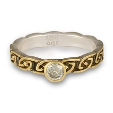 Borderless Petra Engagement Ring in 18K Yellow Gold Design w Sterling Silver Base