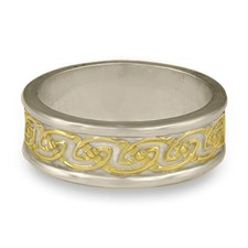 Bordered Petra Wedding Ring in 14K White Gold Borders & Base w 18K Yellow Gold Center