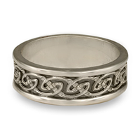 Bordered Petra Wedding Ring in Sterling Silver