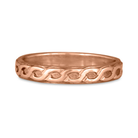Borderless Rope Wedding Ring Straight in 14K Rose Gold