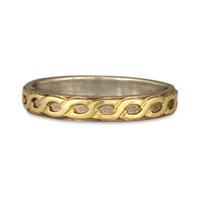 Borderless Rope Wedding Ring Flush in 14K White Base with 18K Yellow Design
