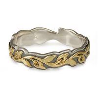 Narrow Borderless Flores Wedding Ring in 18K Yellow Design/Sterling Base