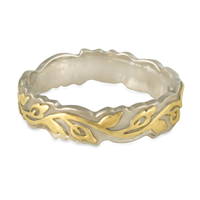 Narrow Borderless Flores Wedding Ring in 14K White Base with 18K Yellow Design