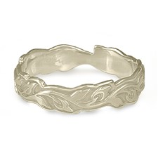 Narrow Borderless Flores Wedding Ring in 14K White Gold