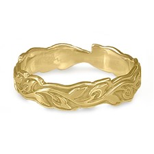 Narrow Borderless Flores Wedding Ring in 14K Yellow Gold