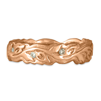 Narrow Borderless Flores Wedding Ring with Diamonds in 18K Rose Gold