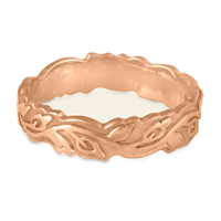 Narrow Borderless Flores Wedding Ring in 18K Rose Gold