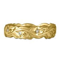 Narrow Borderless Flores Wedding Ring with Diamonds in 18K Yellow Gold