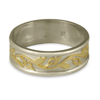 Narrow Bordered Flores Wedding Ring in 14K White Base with 18K Yellow Design