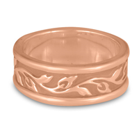 Narrow Bordered Flores Wedding Ring in 14K Rose Gold