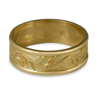 Narrow Bordered Flores Wedding Ring in 14K Yellow Gold