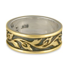 Narrow Bordered Flores Wedding Ring in 18K Yellow Gold Borders & Center w Sterling Silver Base