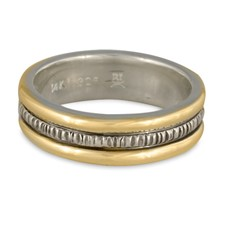 Wide Bridges Wedding Ring in Sterling Silver Center & Base w 14K Yellow Gold Borders