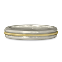 Windsor Wedding Ring in 14K White Gold Base w 14K Yellow Gold Center