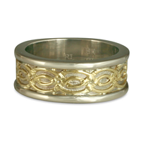 Bordered Laura Wedding Ring in 14K White Borders and Base/18K Yellow Center Design