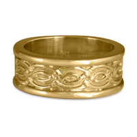 Bordered Laura Wedding Ring in 14K Yellow Gold
