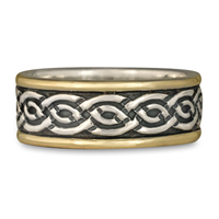 Bordered Laura Wedding Ring in Sterling Silver Center & Base w 14K Yellow Gold Borders