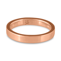 Flat Comfort Fit Wedding Ring 3mm in 14K Rose Gold