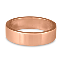 Flat Comfort Fit Wedding Ring 6mm in 14K Rose Gold