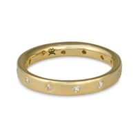 Flat Comfort Fit Wedding Ring 3x2mm with Gems in 14K Yellow Gold